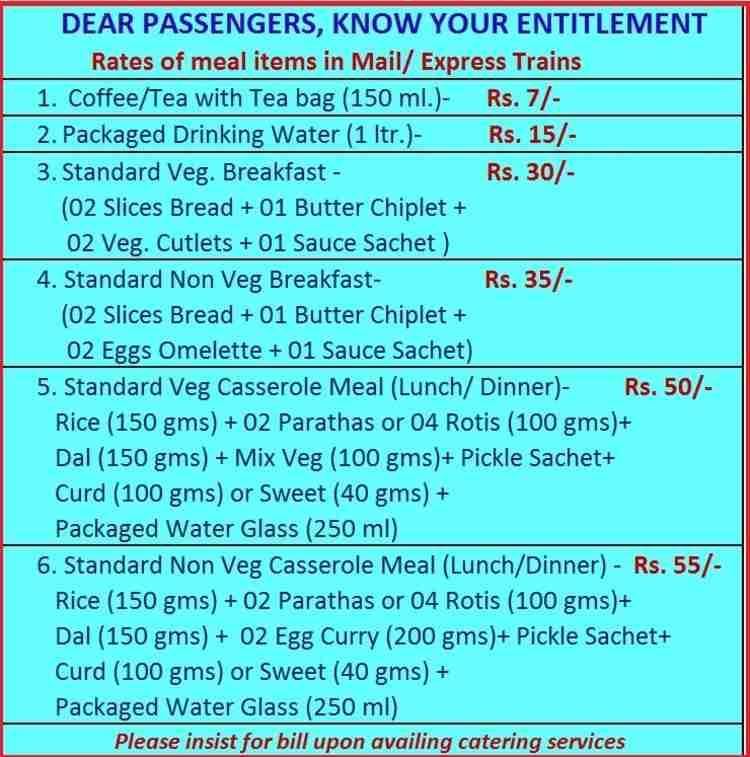 Railways food menu and tariff | Trainman Blog